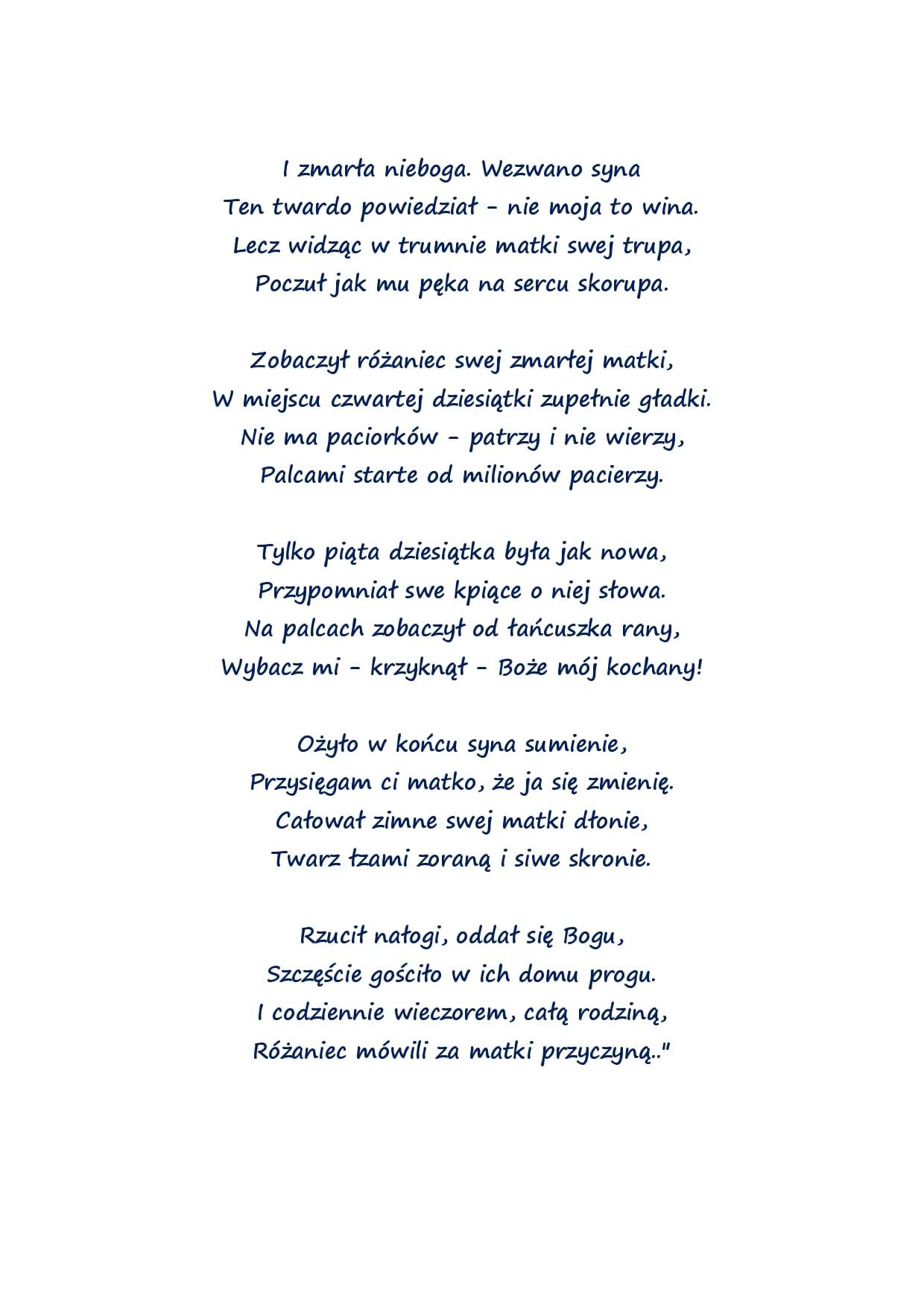 Piękny Wiersz O Różańcu Parafia Pw Najświętszej Maryi